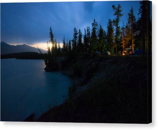 Alberta Canvas Print - Moonrise At Wabasso Campground by Cale Best