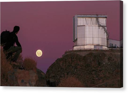 Atacama Desert Canvas Print - Moonrise Behind The Ntt Telescope by Babak Tafreshi