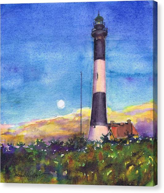 Moonrise Fire Island Lighthouse Canvas Print by Susan Herbst