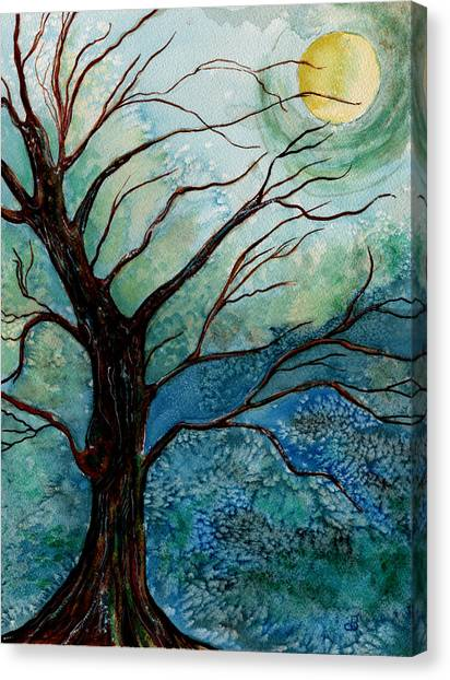 Moonrise In The Wild Night Canvas Print