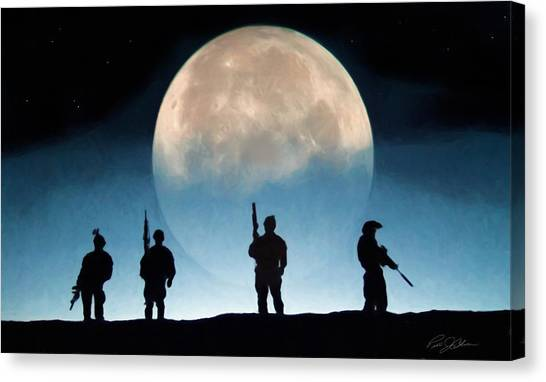 Navy Seal Canvas Print - Moonrise Mission by Peter Chilelli