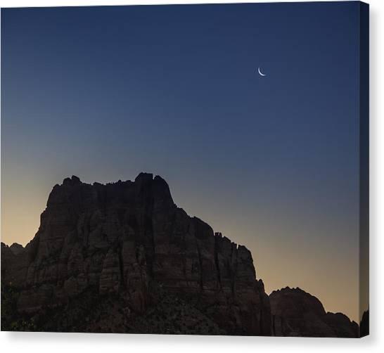 Moonrise Near Zion Canvas Print