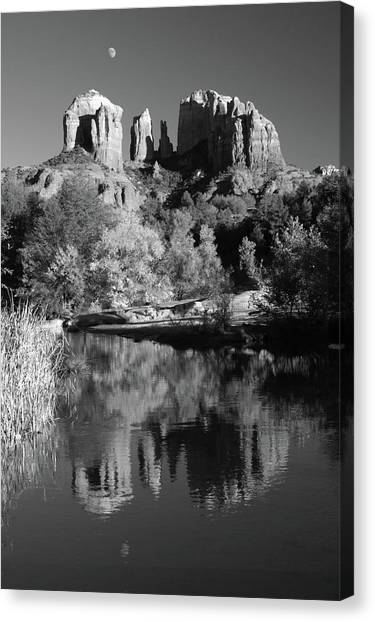 Moonrise Over Cathedral Rocks Canvas Print