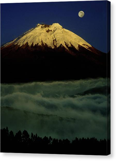 Cotopaxi Canvas Print - Moonrise Over Cotopaxi Volcano by Per-Andre Hoffmann