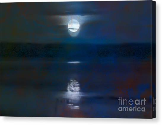 Moonrise Over Lake Jackson 1 Canvas Print