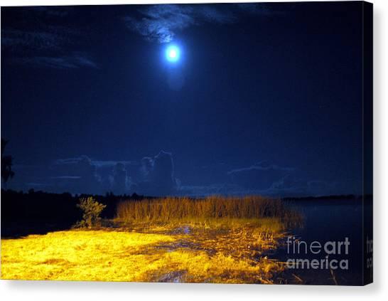 Moonrise Over Rochelle - Landscape Canvas Print