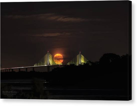 Moonrise Over The Skyway Bridge Canvas Print