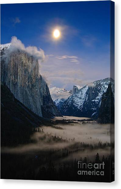 Foggy Forests Canvas Print - Moonrise Over Yosemite National Park by Jamie Pham