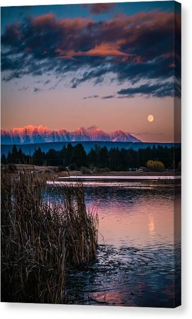 Moonrise Rocky Moutains Canvas Print