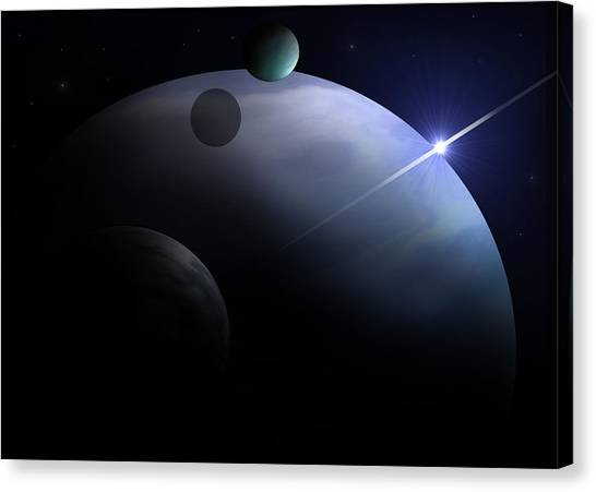 Moons Of Neptune Canvas Print by Ricky Haug