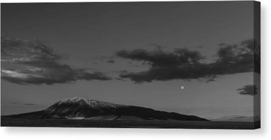 Moonset And Sunrise Canvas Print