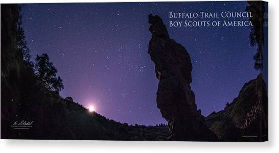 Boy Scouts Canvas Print - Moonset On The Needle - Pano by Aaron Bedell