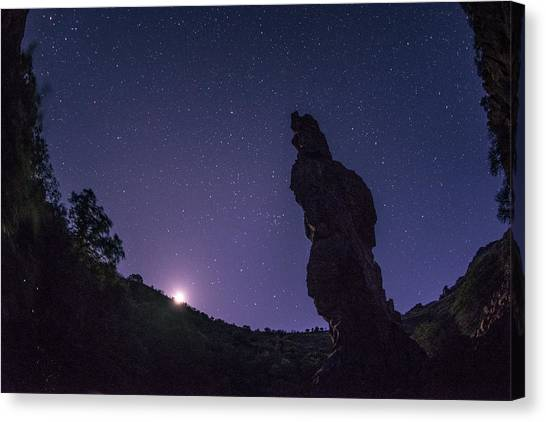 Moon Canvas Print - Moonset On The Needle by Aaron Bedell