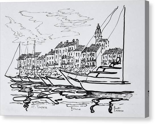 Scotty Canvas Print - Moored Boats In The Harbor by Richard Lawrence