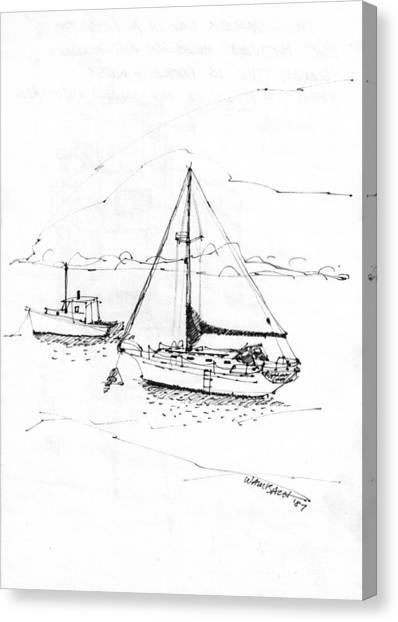 Moored Boats Monhegan Island Canvas Print