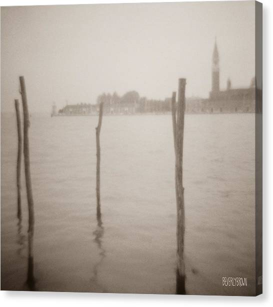 Sepia Canvas Print - Moorings In Foreground by Beverly Brown Prints