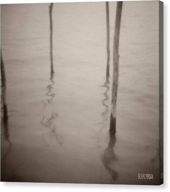 Sepia Canvas Print - Moorings Venice by Beverly Brown Prints