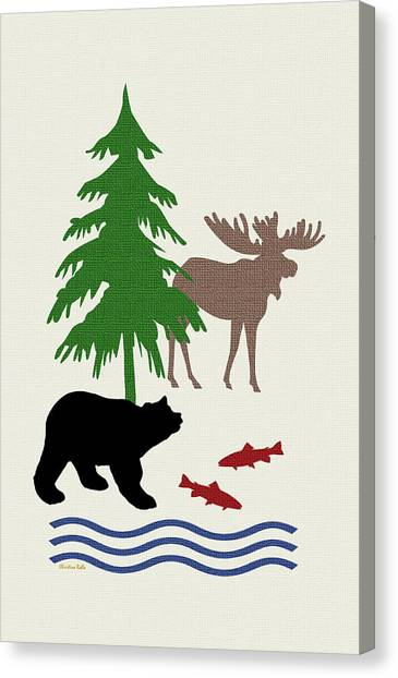 Moose Canvas Print - Moose And Bear Pattern Art by Christina Rollo