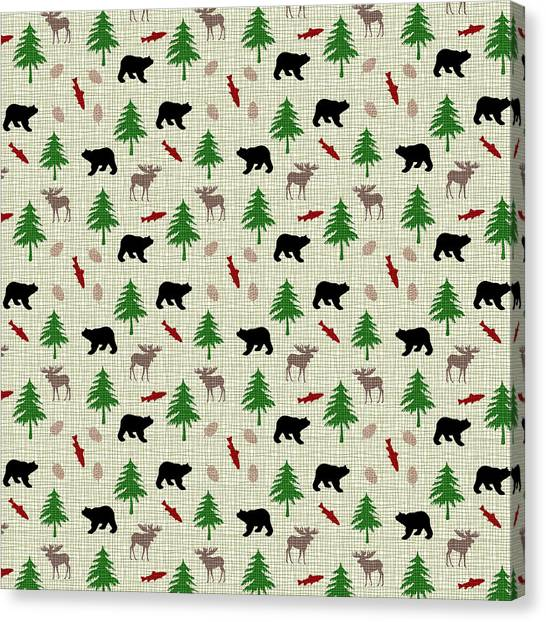 Moose And Bear Pattern Canvas Print