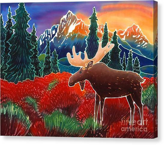 Moose In The Meadow Canvas Print by Harriet Peck Taylor
