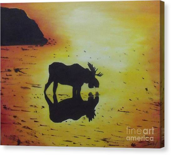 Moose In The Sunset Canvas Print by Debra Piro