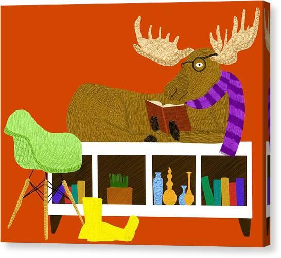 Moose On Bookshelf Canvas Print by Joey Elkins