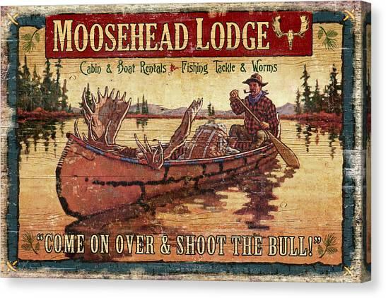 Canoe Canvas Print - Moosehead Lodge by JQ Licensing