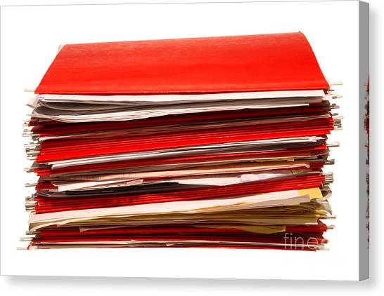 Folders Canvas Print - More Paperwork by Olivier Le Queinec