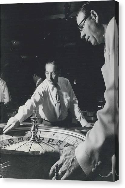 More Roulette Whereas Spin In Las Vegas Than In Monte Carlo Canvas Print by Retro Images Archive