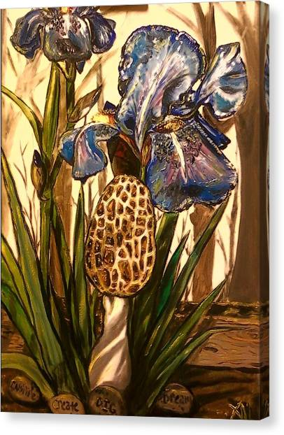 Morel In The Iris Bed Canvas Print