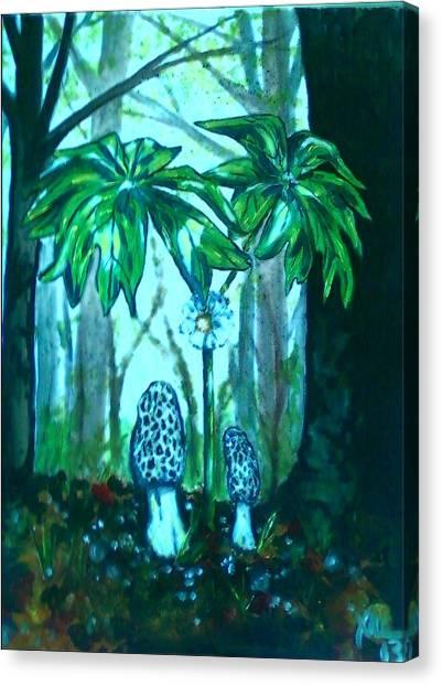 Morels Among Mayapples Canvas Print