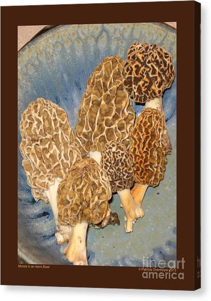 Morels In An Aerni Bowl Canvas Print by Patricia Overmoyer