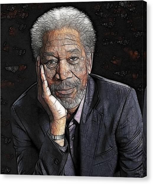 Canvas Print featuring the painting Morgan Freeman  by Georgeta Blanaru