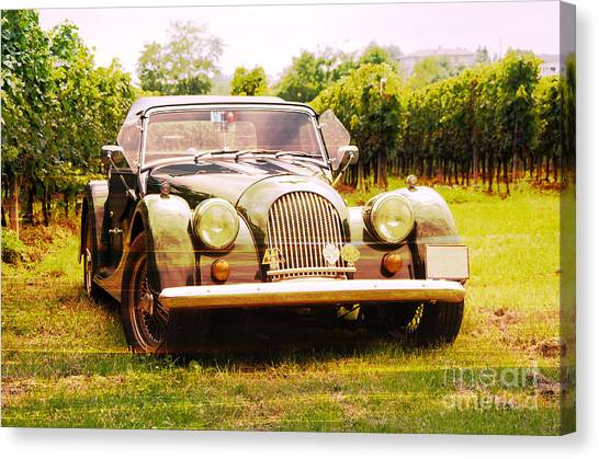 Morgan Plus 4 In Front Of Vineyard Canvas Print