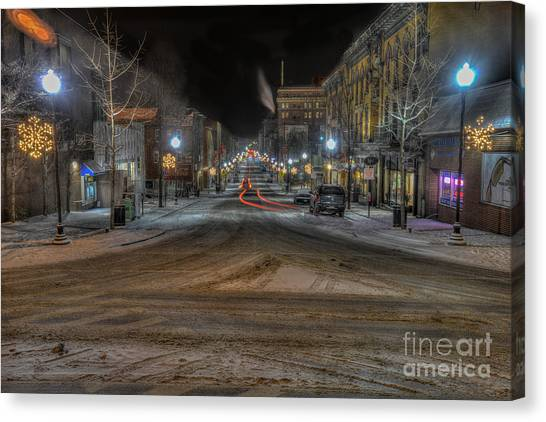 Morgantown High Street On Cold Snowy Night  Canvas Print