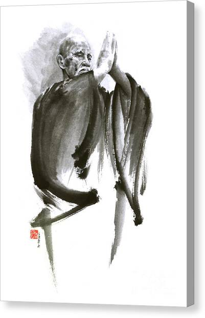 Karate Canvas Print - Morihei Ueshiba Sensei Aikido Martial Arts Art Japan Japanese Master Sum-e Portrait Founder by Mariusz Szmerdt