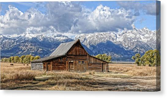 Mormon Barn With Horses Canvas Print