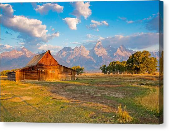 Mormon Row And The Grand Teton Canvas Print