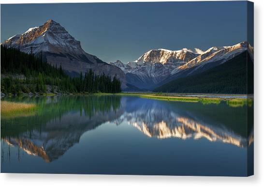 Rocky Mountains Canvas Print - Morning At Canadian Rocky Mt. by Jianyi Wu