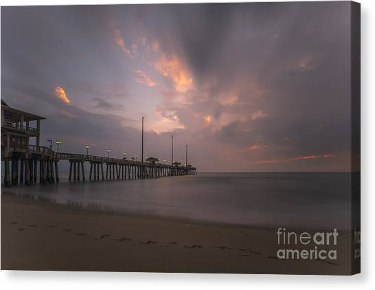 Morning At Jennette Pier Canvas Print