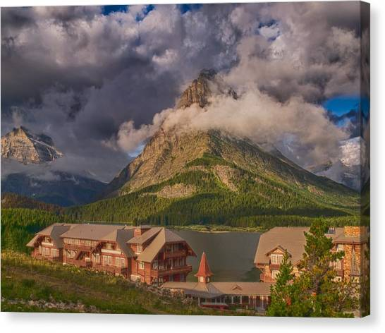 Morning At Many Glacier Hotel Canvas Print