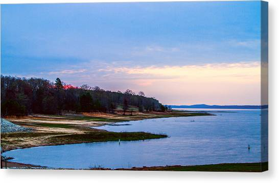 Morning At The Lake - Landscape Canvas Print by Barry Jones
