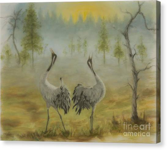 Cranes Canvas Print - Morning Call by Veikko Suikkanen