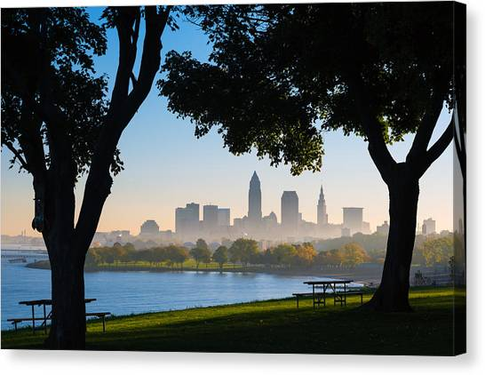 Cleveland Morning Fog Canvas Print