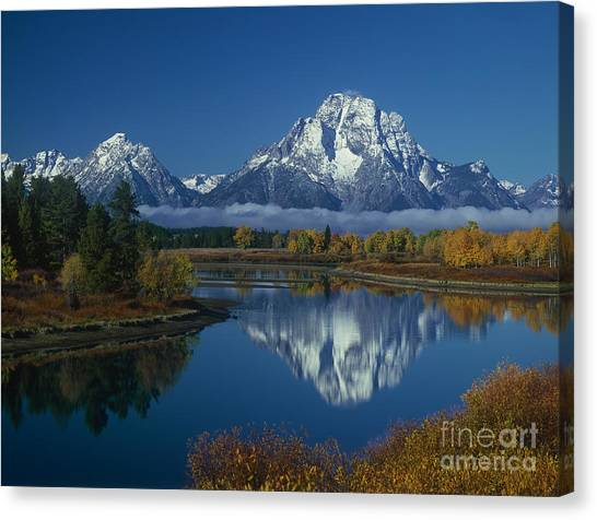 Morning Cloud Layer Oxbow Bend In Fall Grand Tetons National Park Wyoming Canvas Print