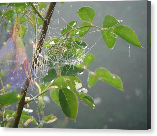 Morning Dew Flower Fairy Canvas Print