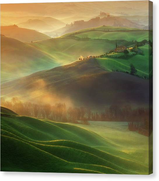 Rolling Hills Canvas Print - Morning Dreams by Krzysztof Browko