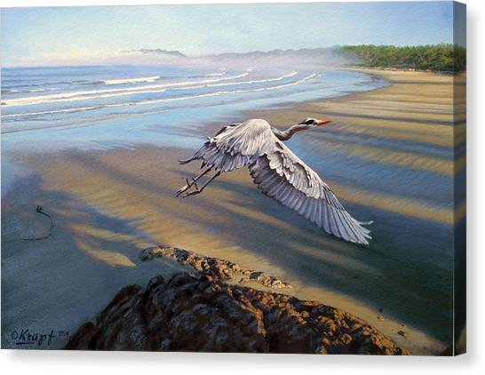 Pacific Coast Canvas Print - Morning Fight-blue Heron by Paul Krapf
