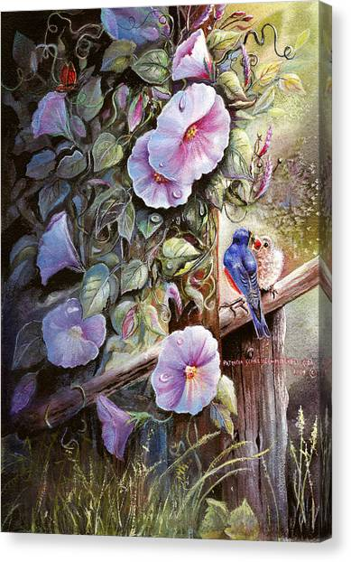 Morning Glories And Bluebirds. Canvas Print