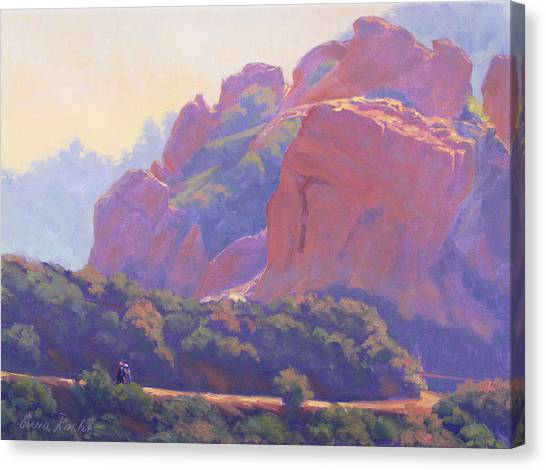 Morning Hike Cathedral Rock Canvas Print by Elena Roche